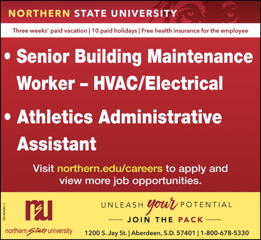 Senior Building Maintenance Worker - HVAC / Electrical, Athletics Administrative Assistant