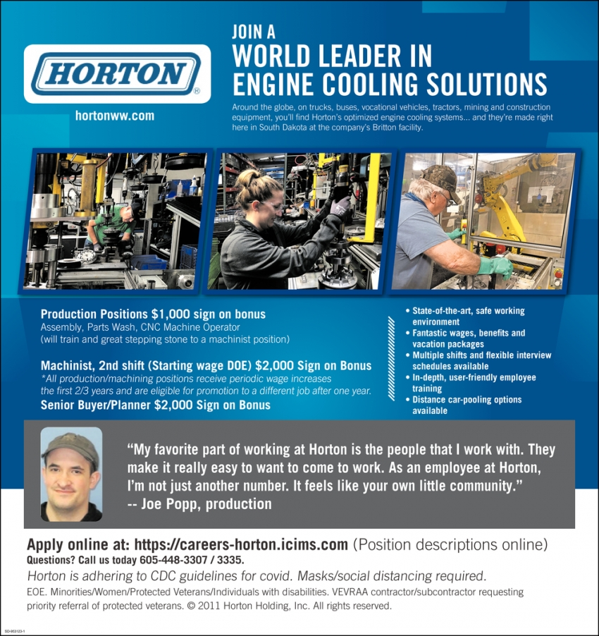 Join A World Leader in Engine Cooling Solutions