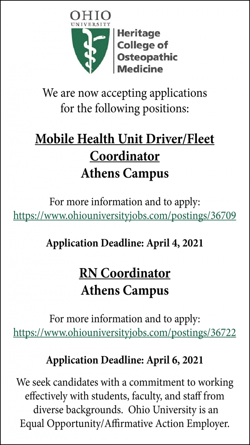 Mobile Health Unit Driver/Fleet Coordinator