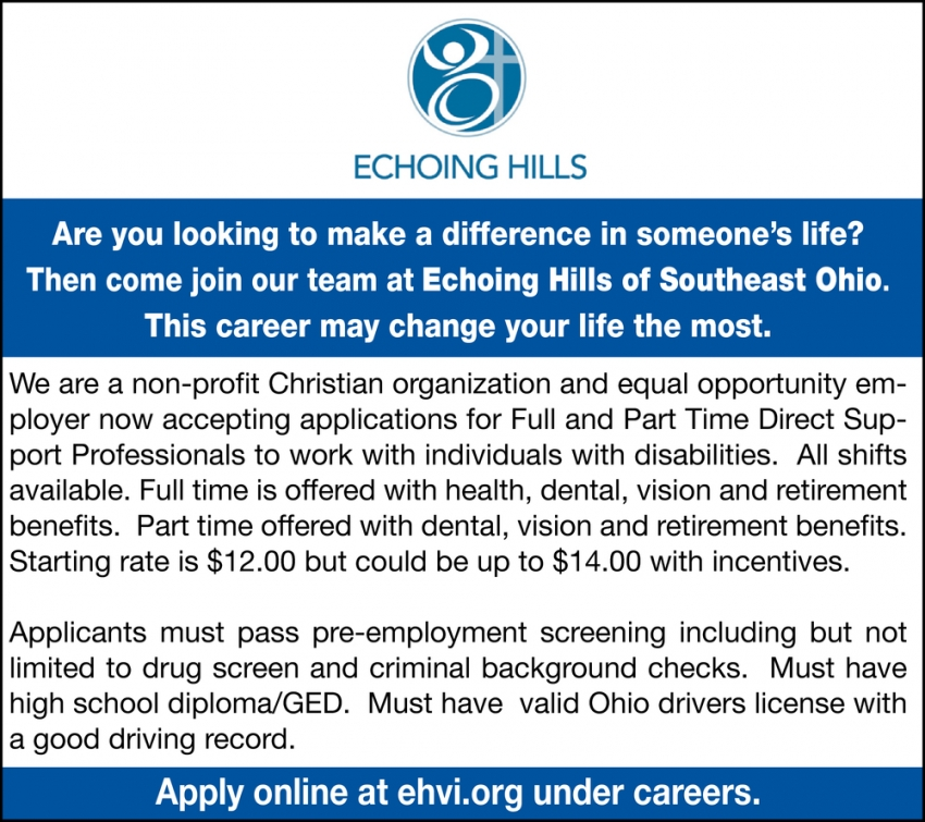 Come Join Our Team At Echoing Hills