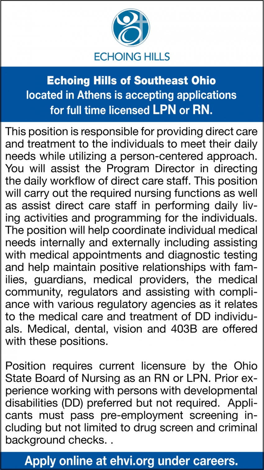 Accepting Applications For Full Time Licensed LPN Or RN