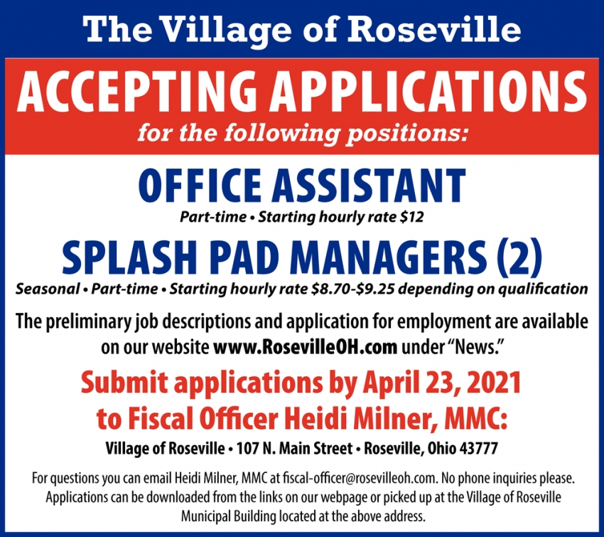 Office Assistant - Splash Pad Managers