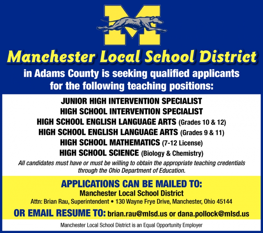Seeking Qualified Applicants For The Following Teaching Positions