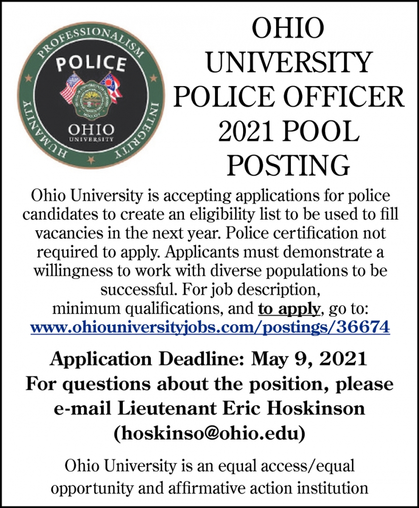 Police Officer 2021 Pool Posting