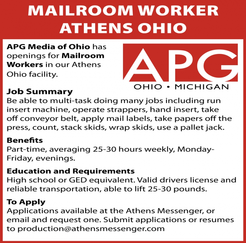 Mailroom Worker Athens Ohio