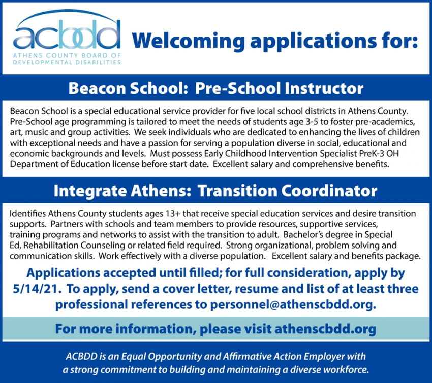 Beacon School: Pre-School Instructor - Integrate Athens: Transition Coordinator