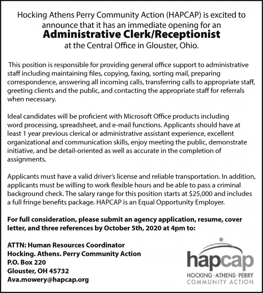 Administrative Clerk/Receptionist Needed