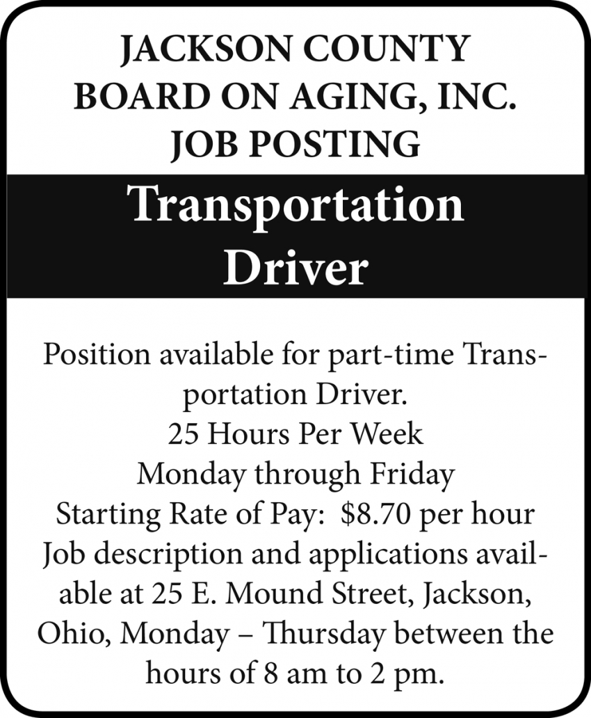 Transportation Driver Wanted