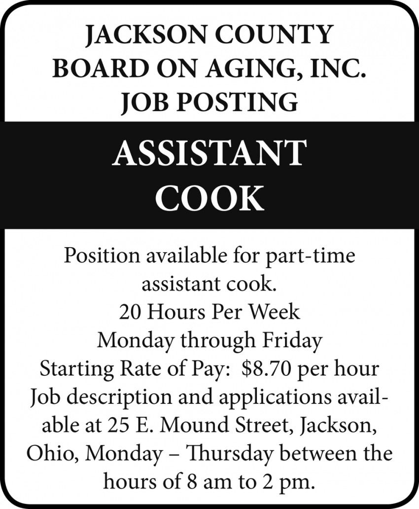 Assistant Cook Wanted
