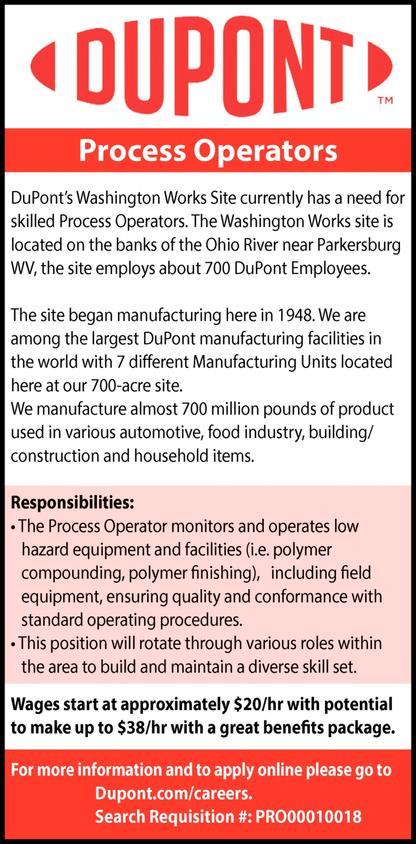 Process Operators Wanted