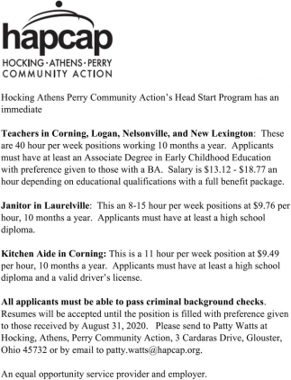 Teachers - Janitor - Kitchen Aide