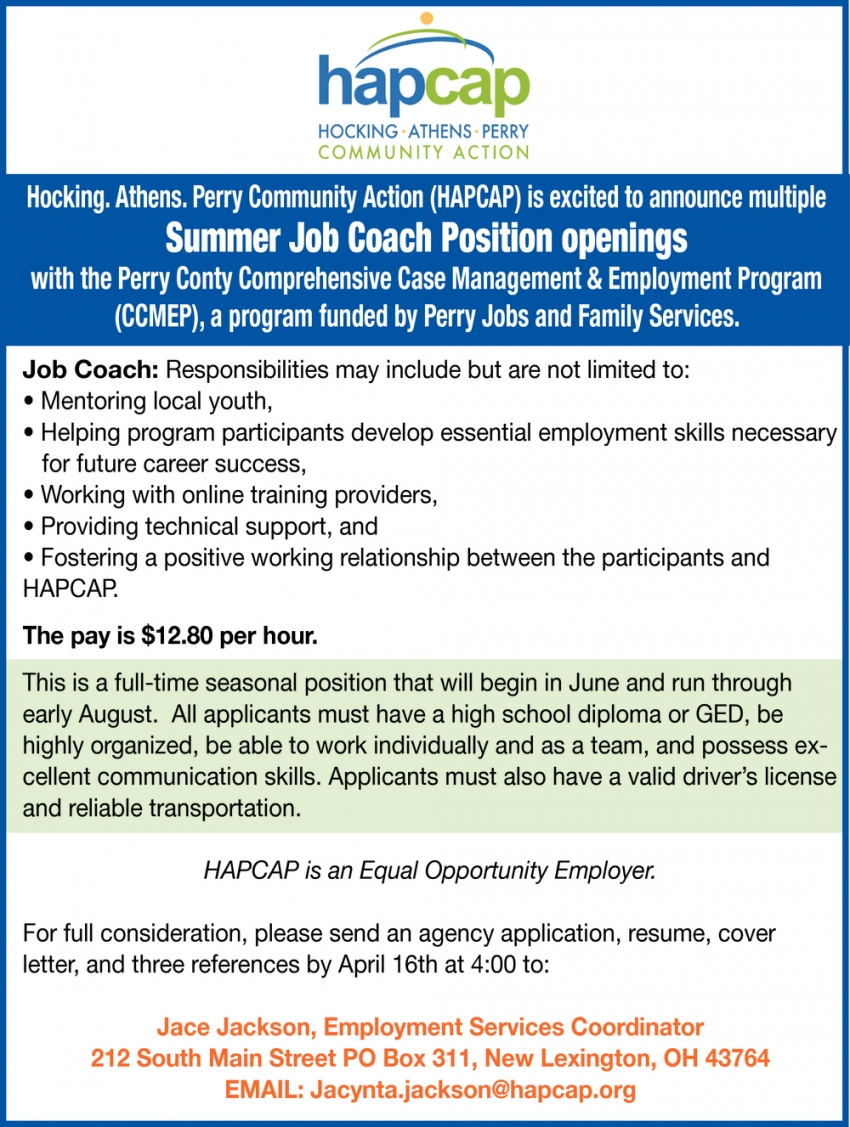 Summer Job Coach Position Openings