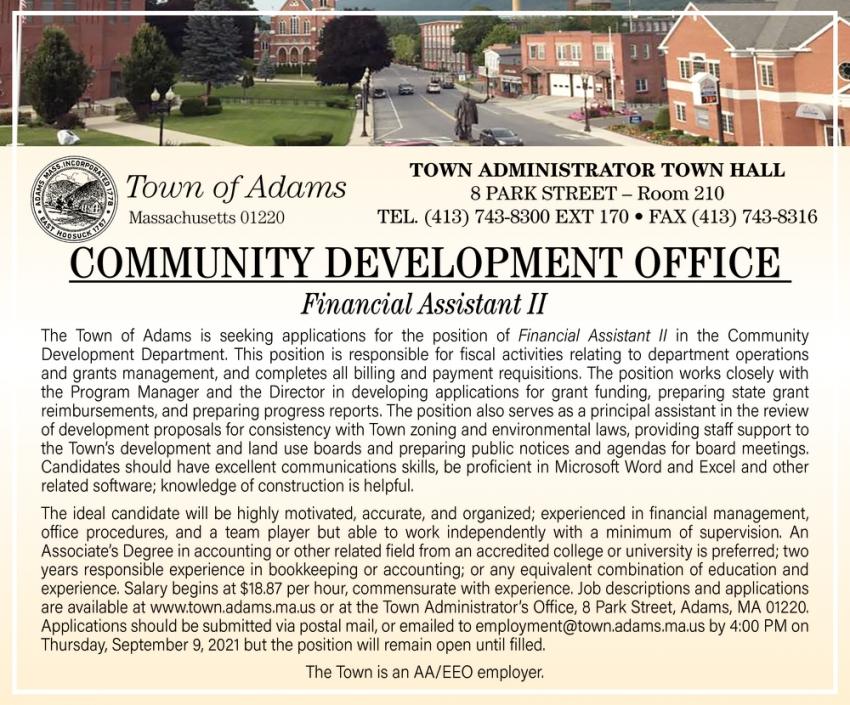 Financial Assistant II, Town of Adams, Adams, MA