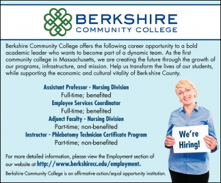 Assistant Professor, Employee Services Coordinator, Adjunct Faculty & Instructor