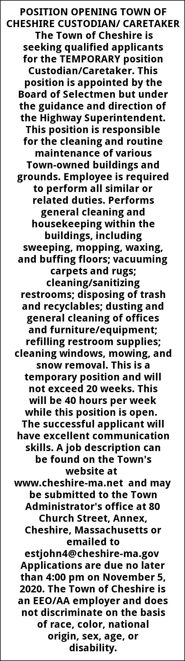 Cheshire Custodian / Caretaker