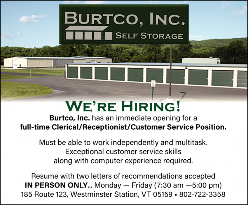 Clerical / Receptionist / Customer Service Position