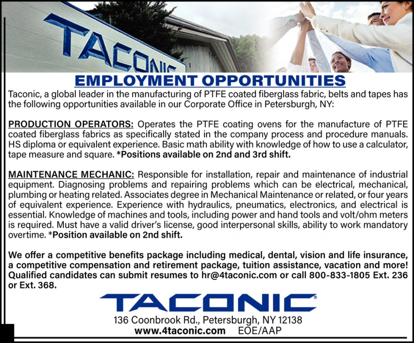 Production Operators & Maintenance Mechanic