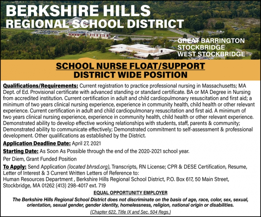 School Nurse Float / Support District Wide Position