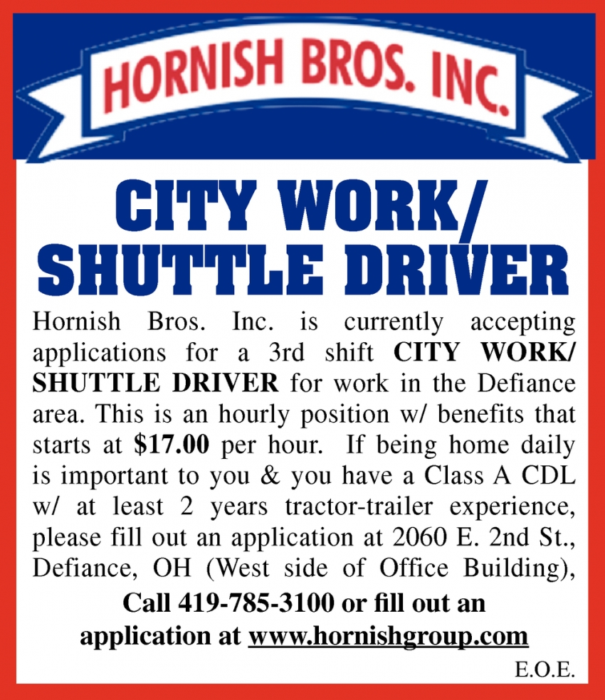 City Work/ Shuttle Driver
