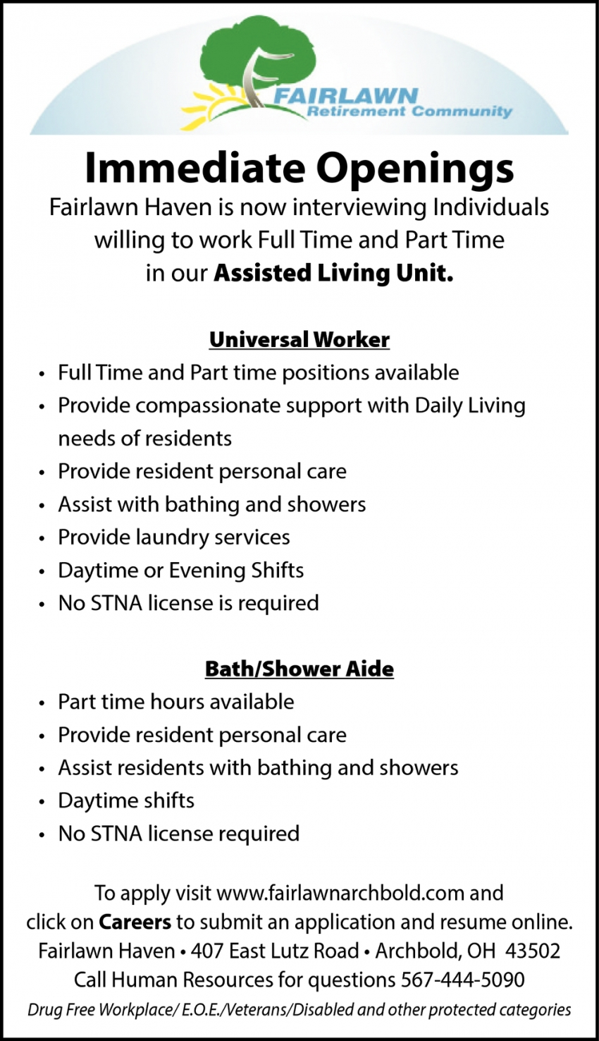 Universal Worker and Bath/Shower Aide