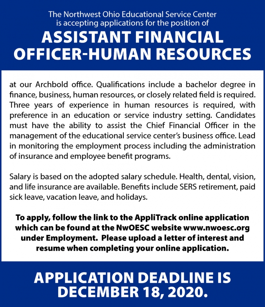 Assistant Financial Officer-Human Resources