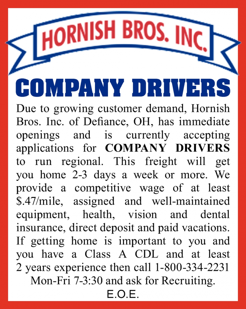 Company Drivers Needed