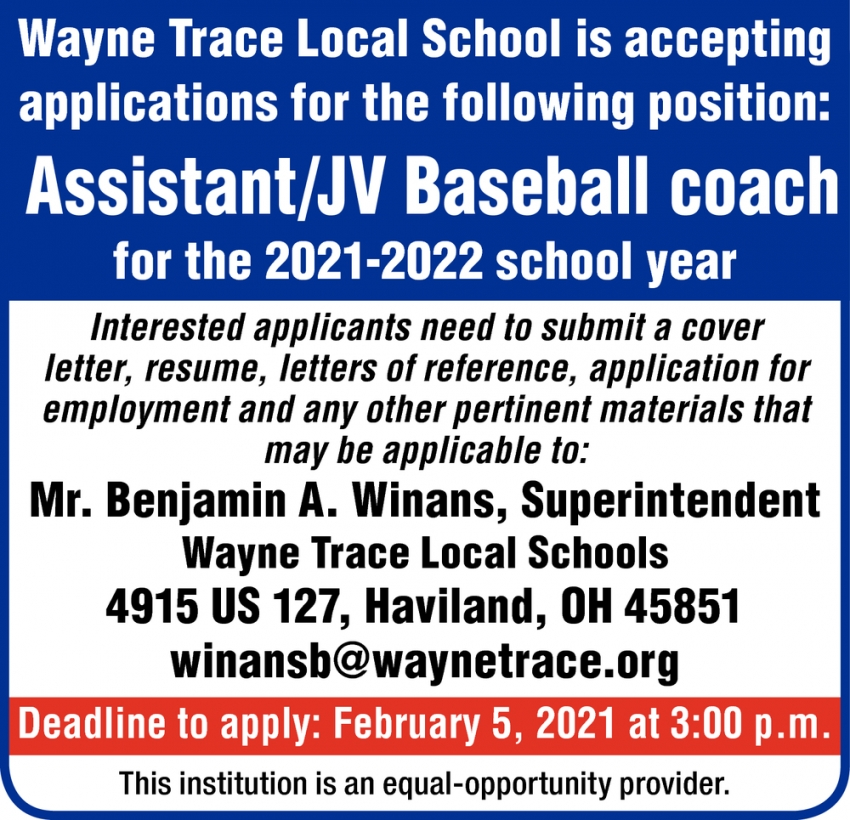 Assistant / JV Baseball Coach