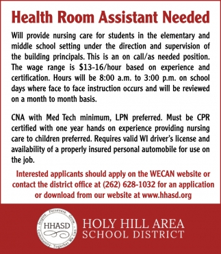 Health Room Assistant Needed