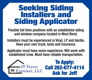 Siding Installers and Siding Applicator