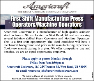 Manufacturing Press Operators / Machine Operators