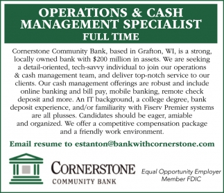 Operations & Cash Management Specialist