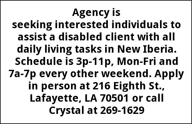 Seeking Interested Individuals to Assist a Disabled Client