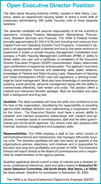 Open Executive Director Position