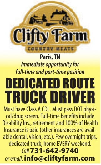 Dedicated Route Truck Driver Wanted