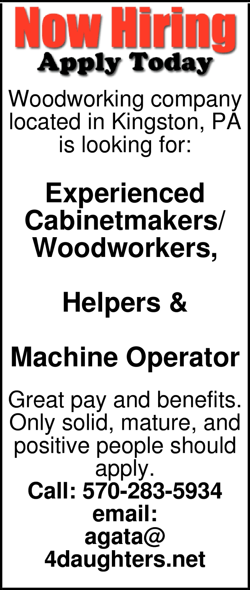Cabinetmakers Woodworkers Helpers Machine Operator Four Daughters Kingston Pa