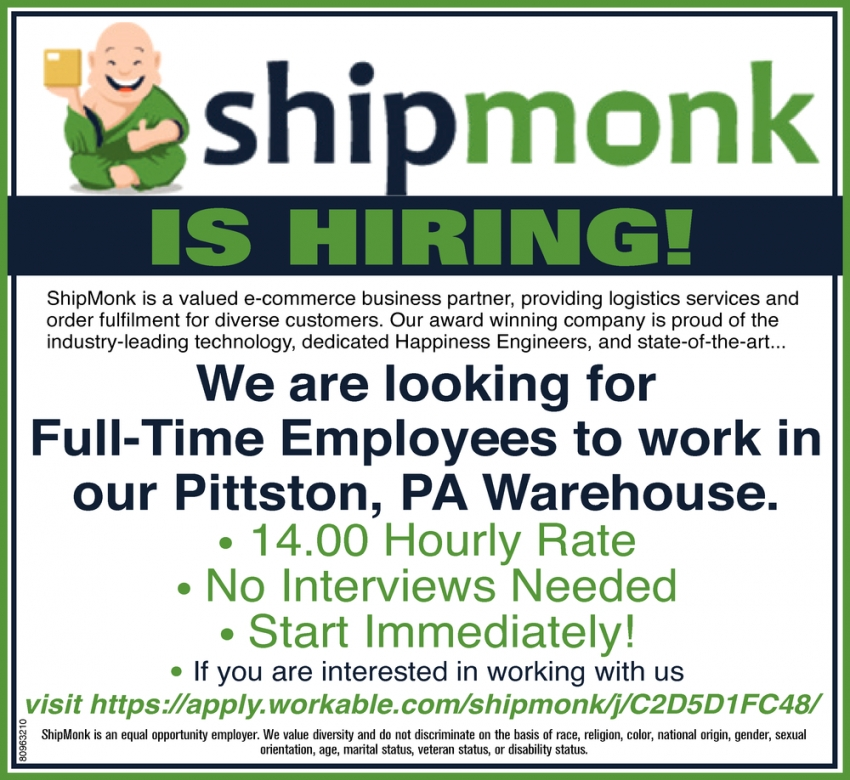 Full Time Employees to Work in Our Pittston, PA Warehouse