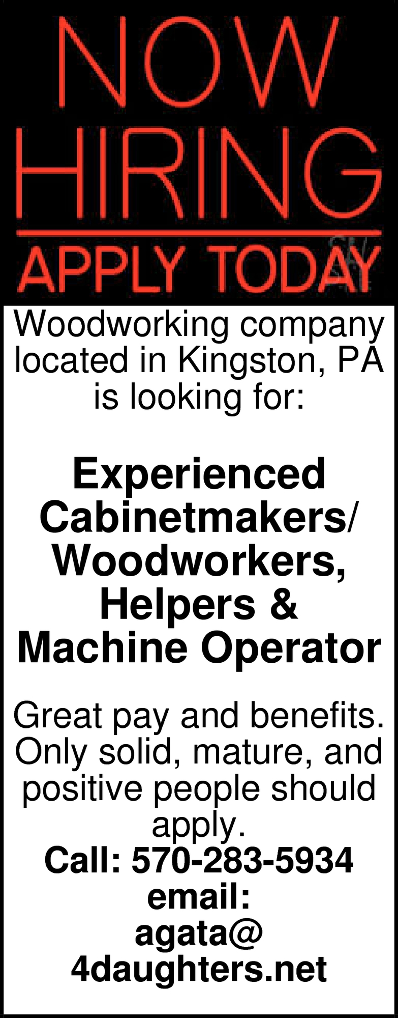 Experienced Cabinetmakers/ Woodworkers, Helpers & Machine Operator Wanted