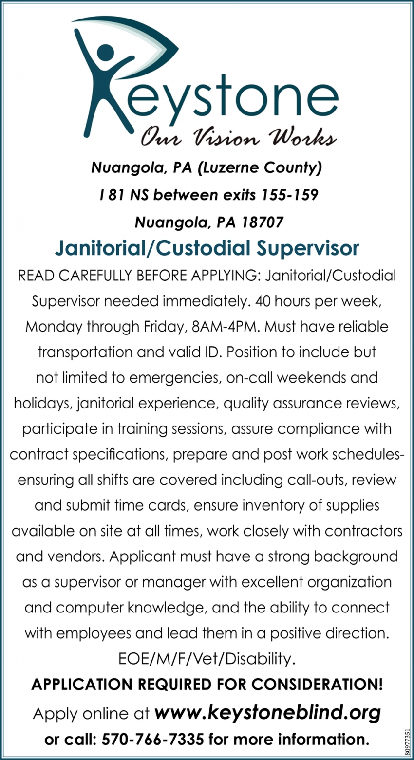 Janitorial / Custodial Supervisor