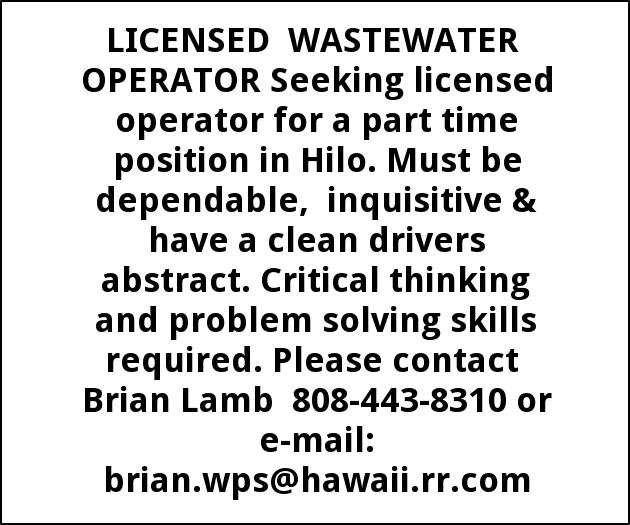 Licensed Wastewater Operator