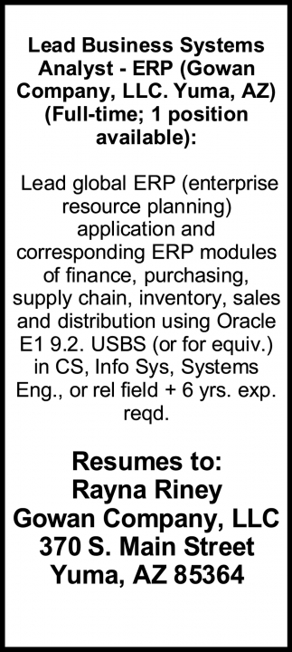 Lead Business Systems Analyst