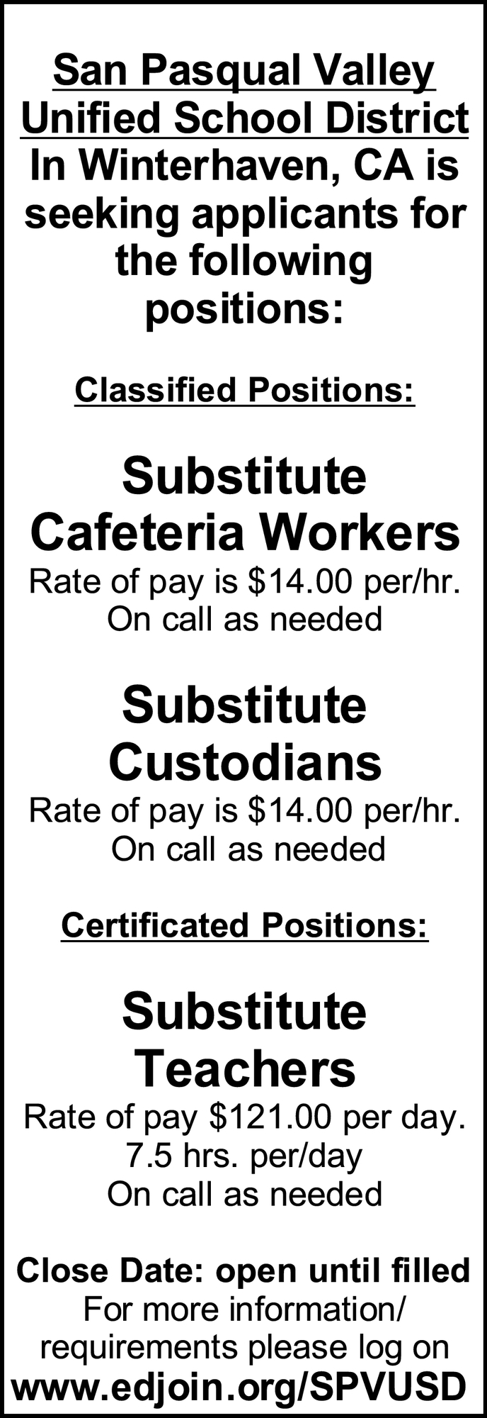 Substitute Cafeteria Workers, Substitute Custodians & Substitute Teachers