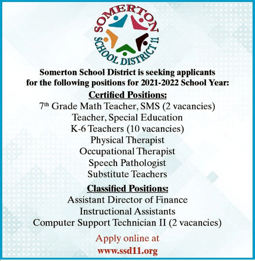 Seeking Applicants for the Following Positions for 2021-2022 School Year