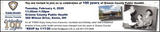 You are invited to join us in celebration of 100 years of Greene County Public Health