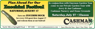 Plan Ahead for Our Zucchini Festival