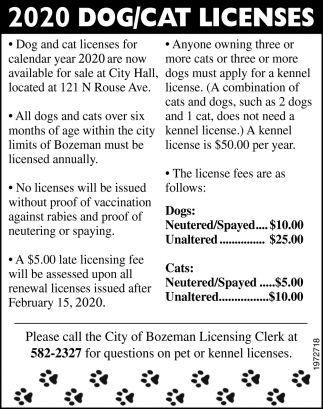 2020 Dog/Cat Licenses