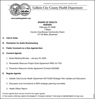 Board of Health Agenda