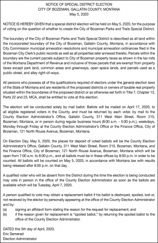 Notice of Special Districts Election