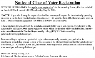 Notice of Close of Voter Registration