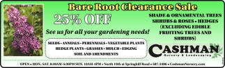 Bare Root Clearance Sale