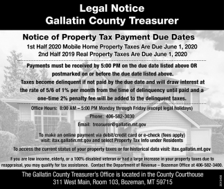 Notice of Property Tax Payment